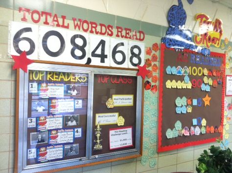 My Accelerated Reader bulletin boards.  Jaguar paw prints colored by each student tracks the success rate (quizzes passed).  Top reader board by word count and passing percentage is on the right.