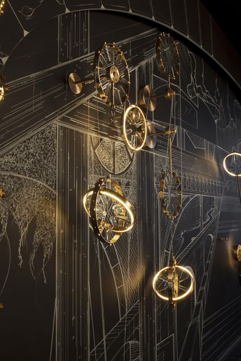 The reason i choose this steampunk is because of the way the clocks are positioned and the way they glow Bühnen Design, House Design, Arte Fashion, Stage Set Design, Scenic Design, Oeuvre D'art, Installation Art, Lighting Design, Concept Art