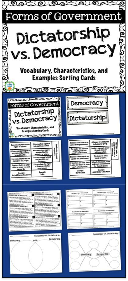 Forms Of Government Dictatorship Vs Democracy Includes Graphic Organizers Characteristics Sor Democracy Lesson Plans Democracy Lesson Dictatorship Lessons