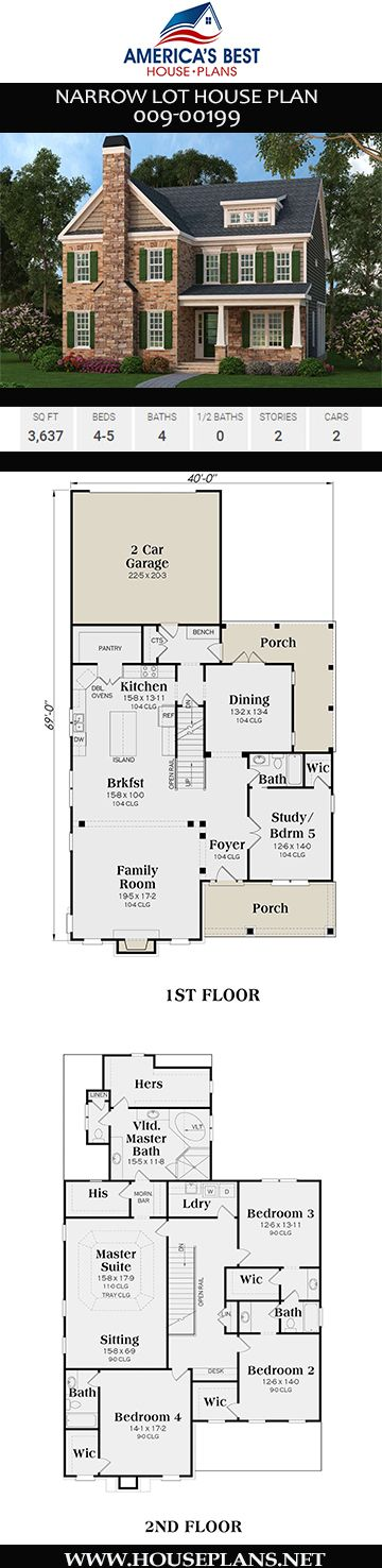 House Plan 009 00199 Narrow Lot Plan 3 637 Square Feet 4 5 Bedrooms 4 Bathrooms Narrow Lot House Plans Basement House Plans Porch House Plans