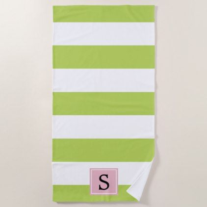 Monogram Stripes Parallel Lines Green Pink Beach Towel
