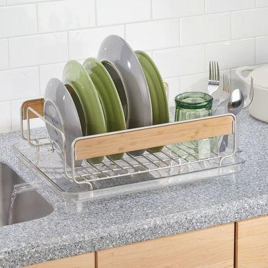 Mdesign Large Kitchen Sink Dish Drying Rack W Swivel Spout Satin