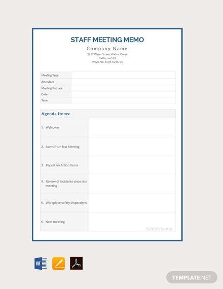 Free Blank Meeting Memo Memo Template Staff Meetings
