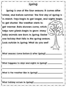Spring Literacy Activities March April Reading Comprehension