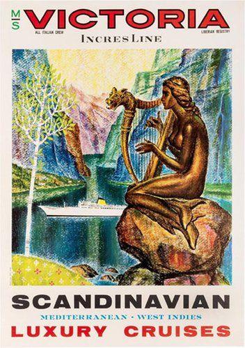 Original Vintage Poster Scandinavian Luxury Cruises Victoria Incres Line Luxury Cruise Cruise Scandinavian