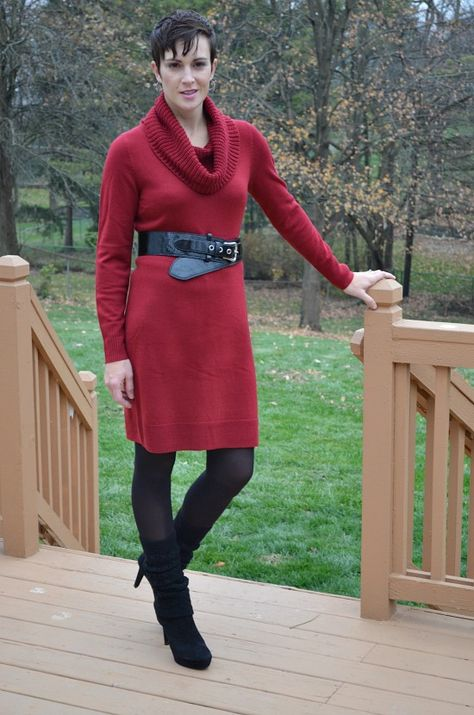 820020af26d43 Stylish Thanksgiving Day Outfits from Kohl's, red cowl neck sweater dress,  black belt, black tights, black leggings, black booties.