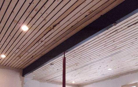 Wood Slat Solution For Basement Ceiling I Recently Showed A Home That Had The Finished This Way Painting Trusses And Unfinis