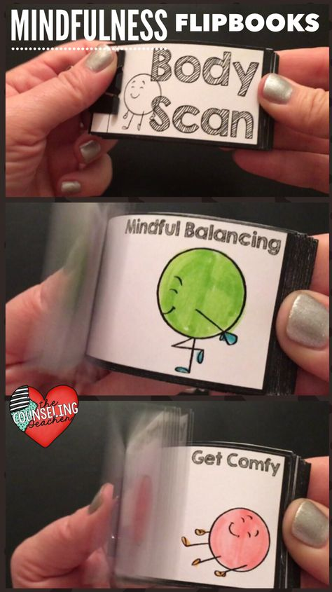 Animated flipbooks are a fun way to reinforce skills taught in the classroom or in small groups.  These mindfulness themed mini flipbooks remind students of the important coping skills they can use to become more mindful. #mindfulness #mindfulnessactivities #schoolcounseling #schoolcounselor