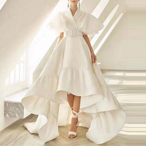 $96 • Women's Spring V-Neck High-Waist Asymmetrical Long Dress