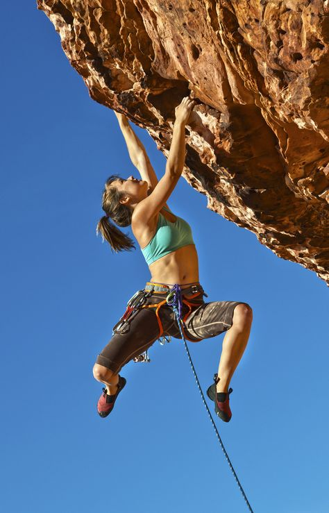 Photo about Female rock climber struggles up a cliff for her next grip on a challenging ascent. Image of balance, explore, climb - 22016992 Climbing Girl, Climbing Outfits, Sport Climbing, Ice Climbing, Mountain Climbing, Rock Climbing Shoes, David Laid, Bodybuilding, Workout Fitness