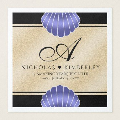 Elegant 17th Shells Beach Sand Wedding Anniversary Paper Dinner