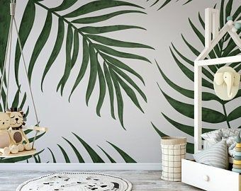 Removable Wallpaper Peel And Stick Wallpaper Self Adhesive Etsy Green Leaf Wallpaper Leaf Wallpaper Tropical Wallpaper