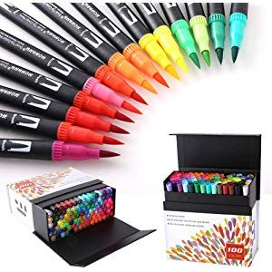 100 Farben Marker Set Pinselstift Set Fasermaler Aquarell