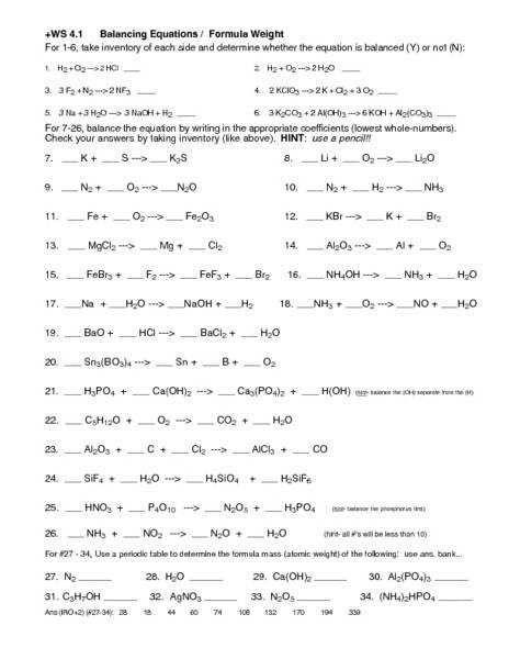 Introduction To Balancing Chemical Equations Answer Key ...