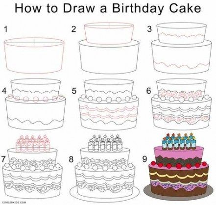 48 Ideas Cake Drawing Step By Step Cake Drawing Step By Step Drawing Drawing Tutorial