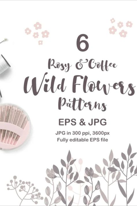 Rosy & Coffee Wild Flowers Seamless