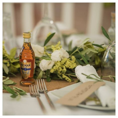 Treat your guests to a Metaxa miniature bottle as a wedding favour for your wedding in Greece. Metaxa the iconic Greek spirit a blend of brandy and wine was invented over 100 years ago by Spiros Metaxas.