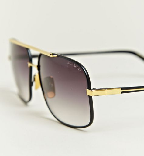 499e3518ea8dc Dita Men s Baron Matte Black Eighteen Carat Gold Frame Sunglasses