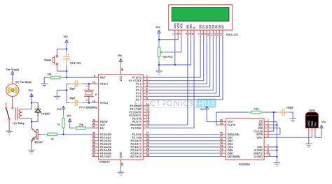 atmega8 circuit diagram temperature controlled dc fan using atmega8 microcontroller  dc fan using atmega8 microcontroller