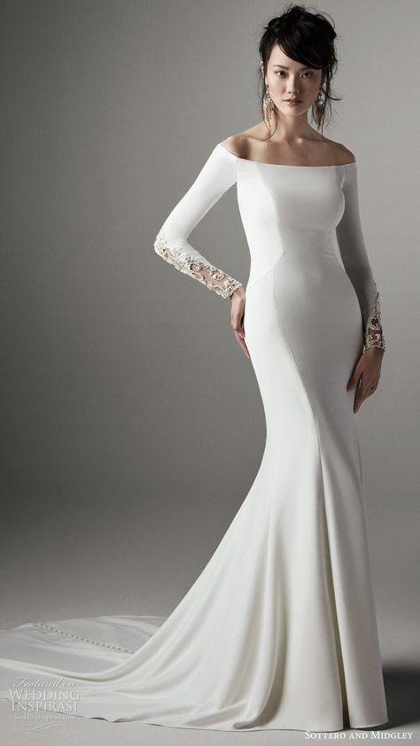 sottero and midgley 2020 long sleeve off shoulder clean sheath fit flare wedding dress (1) mv -- Your Guide to 2020's Hottest Wedding Dress Trends Part 1   Wedding Inspirasi  #wedding #weddings #bridal #weddingdress #weddingdresses #bride #fashion #2020trends #trends #week:012020 #year:2020 ~