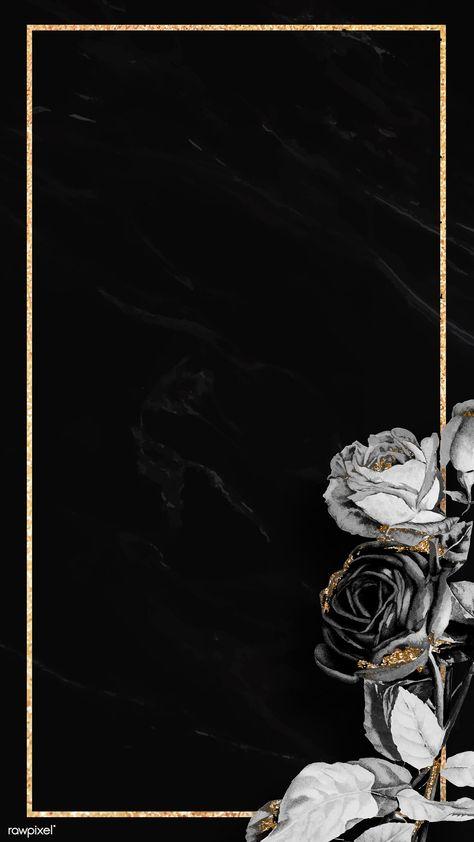 Blank floral golden frame mobile phone wallpaper vector | premium image by rawpixel.com / NingZk V.