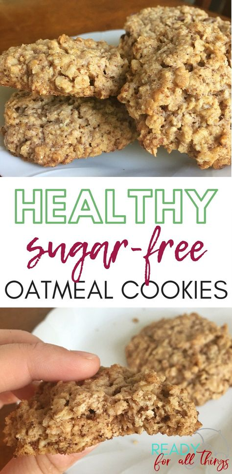These healthy oatmeal cookies are sugar-free, gluten-free, and so delicious! They are easy to make, and they are a perfect sweet treat for your healthy keto lifestyle. #keto #sugarfree #glutenfree #healthy #cookies