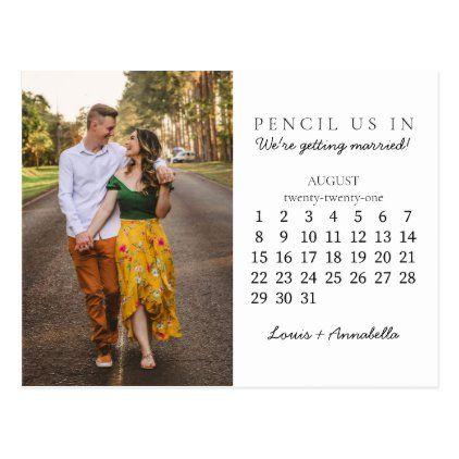 Pencil Us In Save the Date August 2021 Calendar Postcard | Zazzle