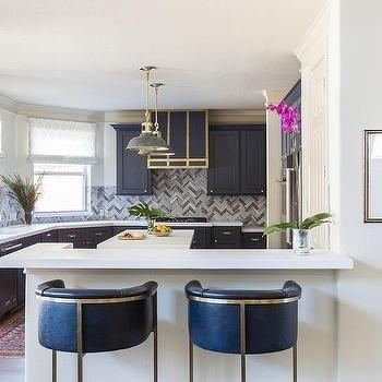 Navy Blue Leather Barrel Back Bar Stools Kitchen Furnishings Cool Bar Stools Kitchen Refinishing
