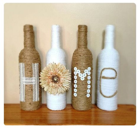 Love twine wrapped wine bottles for decor ... going to use our initials D&C