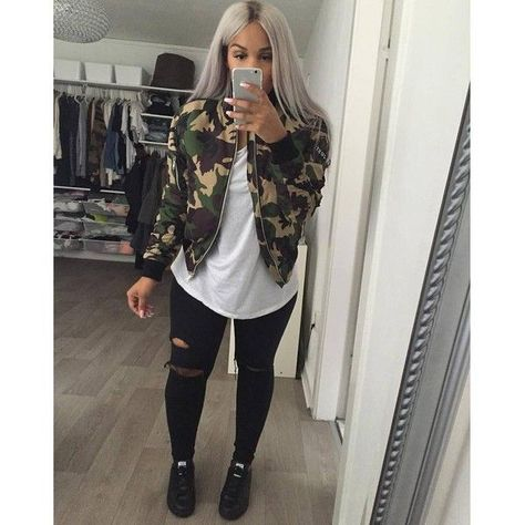 Bomber jacket outfit, camo, and sneaker style.