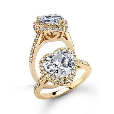 Custom Forever One Heart Shaped Moissanite And Diamond Engagement Ring Diamond Engagement Rings Engagement Rings Moissanite Wedding Set