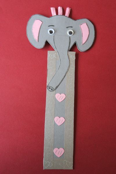 Papier Pappe Lesezeichen Gross Elefant Mit Kulleraugen 11 X 25