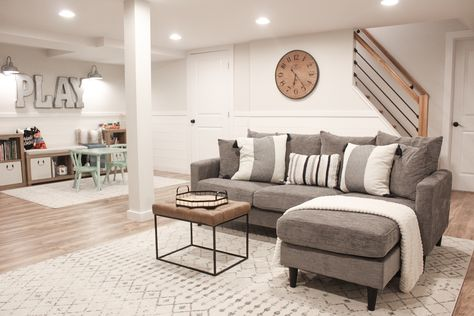 Farmhouse Playroom See how to turn your basement from dungeon to a dream! Find all the links for this modern play/family room here! Cozy Basement, Basement Makeover, Basement House, Basement Renovations, Home Remodeling, Finished Basement Playroom, Basement Ceilings, Basement Bars, Basement Finishing