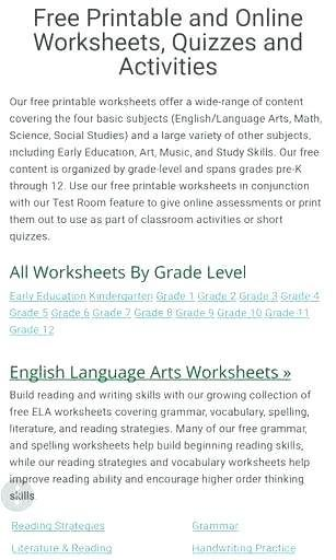 8th Grade Reading Worksheets Kindergarten Language Arts