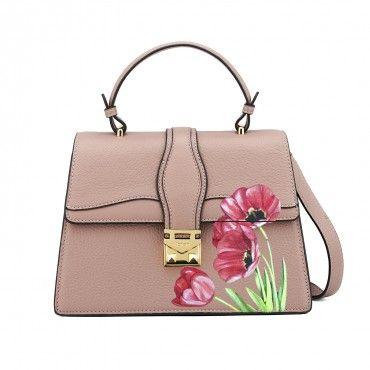 Pink leather bag handpainted Handmade