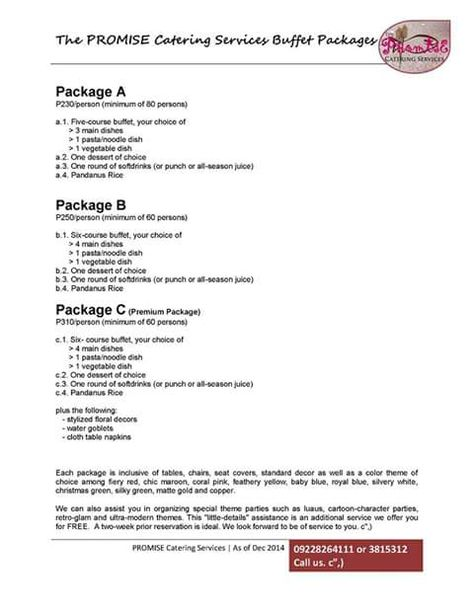 Maria Lina Catering Services  Kiddie Party Packages