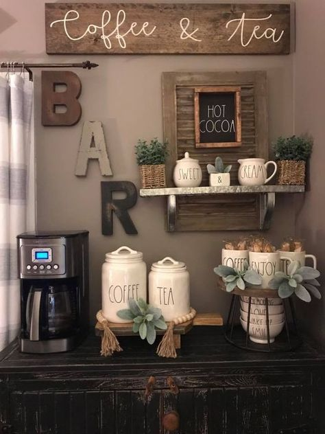 Best Home Coffee Bar Ideas for All Coffee Lovers Are you looking for inspiration to design coffee bar? Check out our best collection of DIY coffee bar ideas for your home that will brighten your morning. Coffee Nook, Coffee Bar Home, Home Coffee Stations, Coffee Corner, Coffee Bars, Beverage Stations, Farmhouse Side Table, Farmhouse Decor, Farmhouse Style