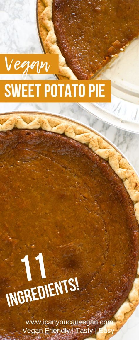 If you're looking for an easy Vegan Sweet Potato Pie recipe, this is it! To make this recipe, you only need 11 ingredients! This southern sweet potato pie is so good! No one will even know it's vegan! Check out this post to learn how to make your own! #VeganRecipes #VeganSweets #VeganDesserts #VeganSweetPotatoPie #VeganHolidayRecipes #VeganHolidayFood #SweetPotatoRecipes #SweetPotatoPie #SweetPotatoPieRecipe #SouthernSweetPotatoPie #EasySweetPotatoPie #SoulFood