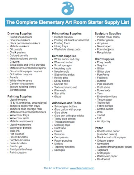 free download of common elementary art room supplies for teachers - inventory supply list