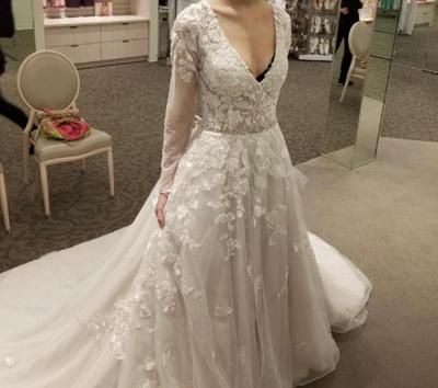 Illusion Sleeve Plunging Ball Gown Wedding Dress David S Bridal Ball Gowns Wedding Wedding Dress Sleeves Davids Bridal Gowns