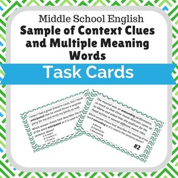 Sample Of Context Clues And Multiple Meaning Words Task