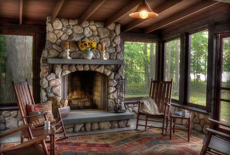 Land's End Development (Lower Whitefish Lake #8) love this porch with the fireplace; would be great at S.L. cabin; simple but elegant and peaceful.....