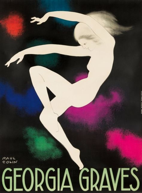 """Paul Colin, poster artwork for Georgia Graves, Paris. """" This poster was created for Graves' time at the Folies-Bergère. She combined both dance and acrobatics to create exuberant routines,."""