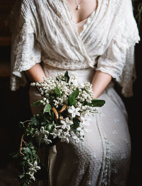 Lily of the Valley Flower Bouquet   Portland Vintage Inspired Wedding   Rodellee from Adored Vintage / Orn Hansen   antique lace wedding gown