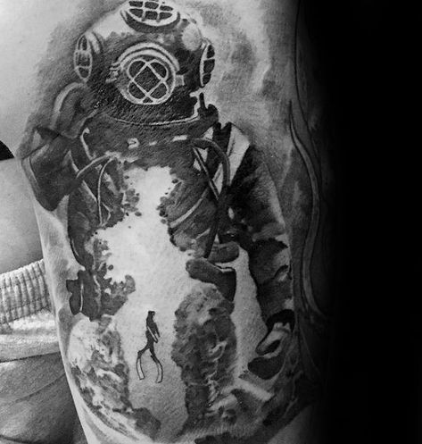 40 Scuba Diving Tattoo Designs For Men - Diver Ink Ideas,  #Designs #diver #diving #ideas #In...