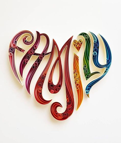 "Quilled Paper Art: "" Family Love"" - Couple Love - Paper Wall Art - Home Decor - Wall Decor - Home Decoration - Quilled Art - Love - Family"