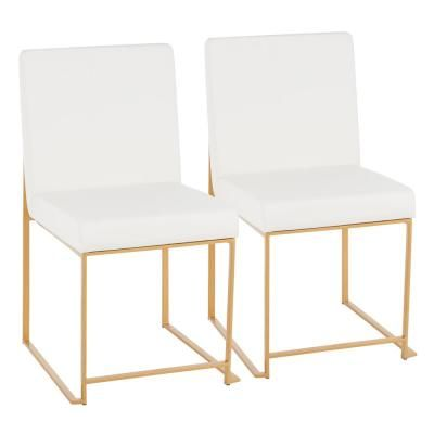 Lumisource Fuji White Faux Leather Gold In High Back Dining Chair Set Of 2 Dc Hbfuji Auw2 The Home Depot In 2020 High Back Dining Chairs Gold Dining Chairs White Leather Dining Chairs