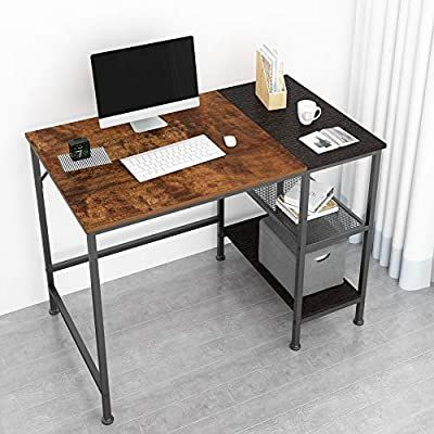 Amazon Com Joiscope Computer Desk With Shelves Laptop Table With Grid Drawer 40 Inches Vintage Oak F In 2020 Computer Desk With Shelves Desk With Drawers Laptop Table