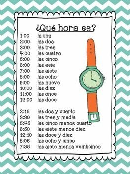 Qué Hora Es Spanish Time Perfect Worksheets And Activities For My Bilingual Esl Spanish Time Worksheets Elementary Spanish Classroom Spanish Lessons For Kids