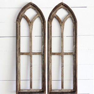 Tall Arched Wooden Window Frame Panel In 2020 Wooden Window Frames Arched Wall Decor Farmhouse Wall Decor